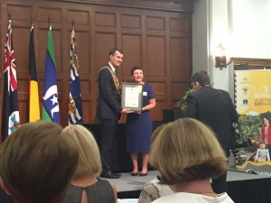 Brisbane Lord Mayor Graham Quirk presenting the Green Heart Awards to Margaret