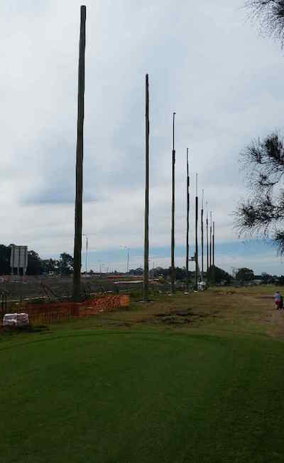 Netting poles at Nudgee Golf Club