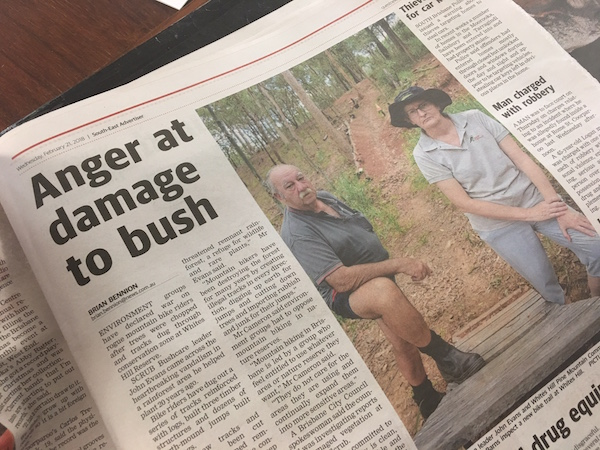 article - damage to bushland