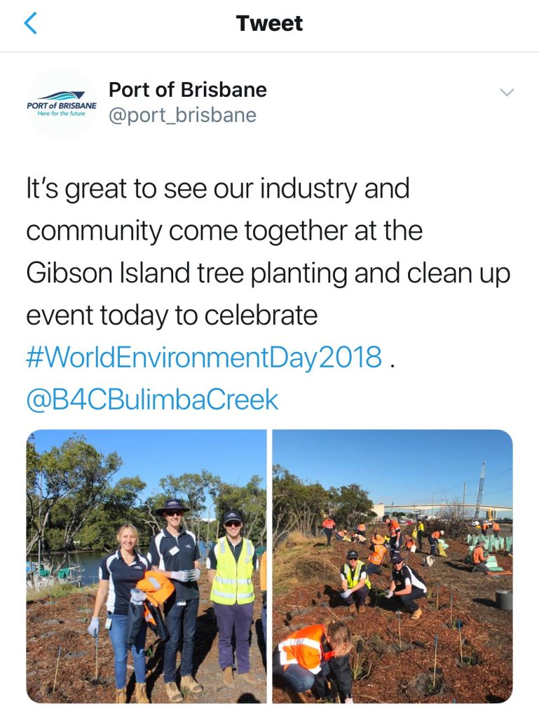 Tweet from Port of Brisbane - 2018