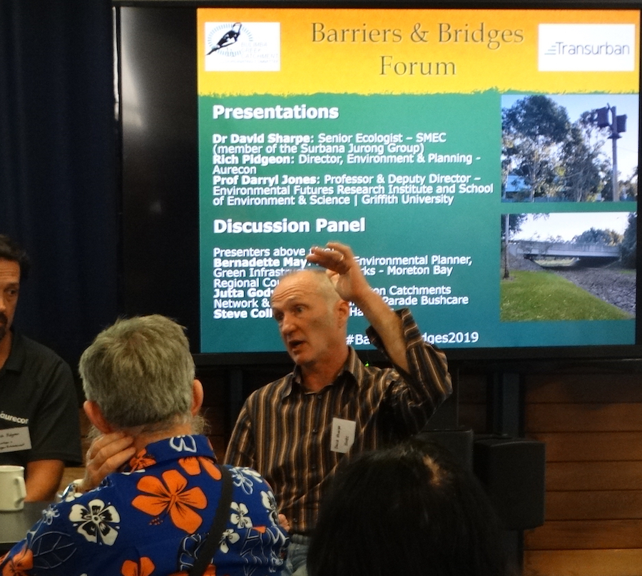 Dr David Sharpe at Barriers & Bridges fauna movement solutions forum.