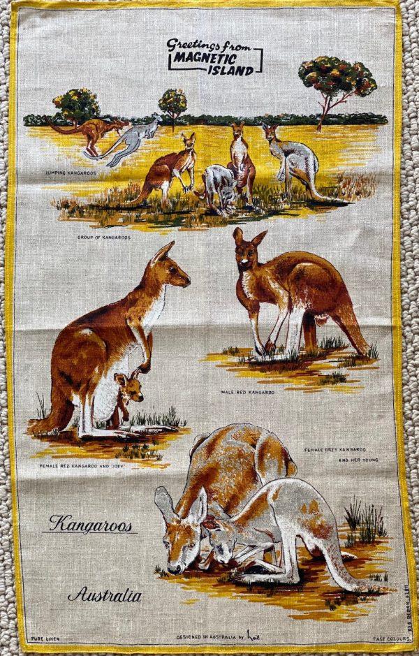 Vingtage Tea Towel - kangaroos - buy online