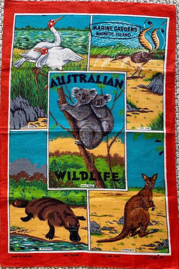 Vintage tea towel - Australian wildlife - buy online