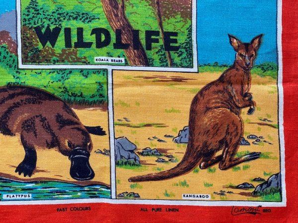 Australian wildlife print on vintage tea towel