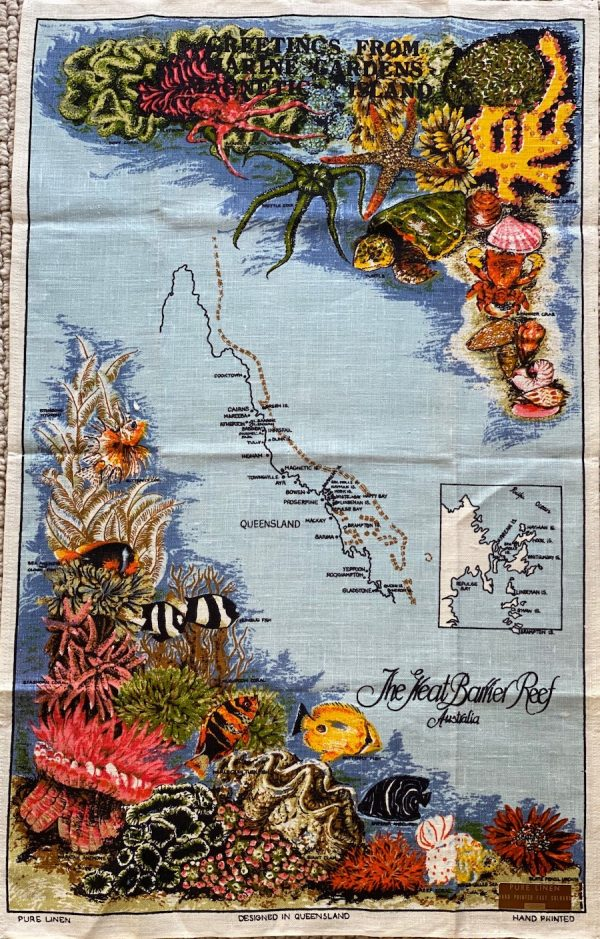 Vintage tea towel - Great Barrier Reef